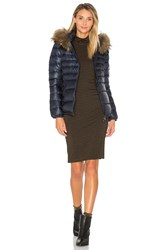Duvetica Nefele Jacket With Asiatic Raccoon Fur Navy