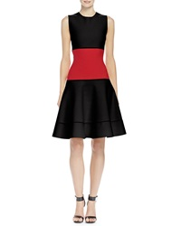 Alexander Mcqueen Colorblock Jacquard Fit And Flare Dress Black Red