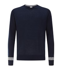 Hardy Amies Contrast Detail Sweater Male Navy