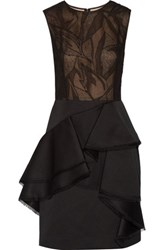 Jason Wu Cotton Blend Lace And Twill Dress Black
