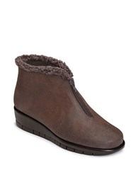 Aerosoles Nonchalant Faux Fur Trimmed Ankle Boots Brown