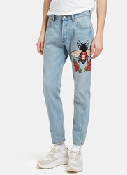Gucci Embroidered Floral Fly Patch Jeans Blue