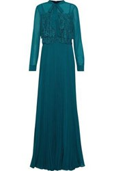 Mikael Aghal Pussy Bow Lace Paneled Pleated Chiffon Gown Teal