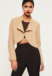 Missguided Nude Zip Detail Buckle Neck Cropped Jacket