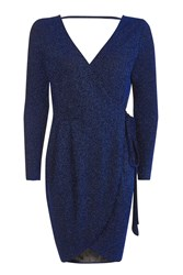 Topshop Glitter Wrap Mini Dress Electric Blue