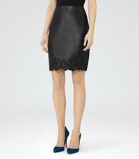 Reiss Kelsey Womens Leather And Lace Skirt In Black