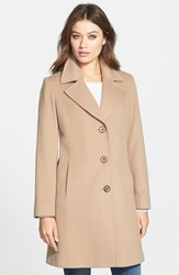 Fleurette Women's Notch Collar Wool Walking Coat Camel