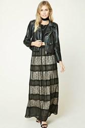 Forever 21 Contemporary Lace Maxi Skirt Black Nude