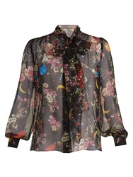 Dolce And Gabbana Planetarium Rose Print Silk Chiffon Blouse Black Print