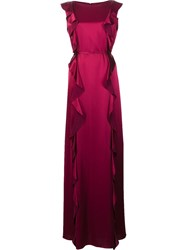 Zac Posen Ruffled Gown Pink Purple