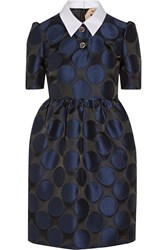N 21 Poplin Trimmed Polka Dot Taffeta Mini Dress Blue