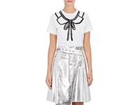 Comme Des Garcons Girl Women's Collar And Bow Print Cotton T Shirt White