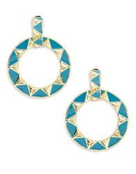 House Of Harlow Delta Studded Hoop Earrings Blue