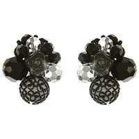 Eclectica Vintage 1950S Vendome Chrome Plated Glass Stone And Resin Cluster Clip On Earrings Black Silver