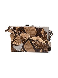 Calvin Klein 205W39nyc Python Mini Leather Box Clutch Brown