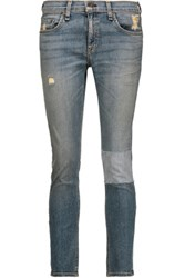 Rag And Bone Tomboy Low Rise Patchwork Skinny Jeans Light Denim