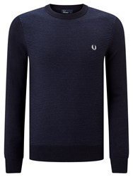 Fred Perry Textured Stripe Crew Neck Jumper Navy