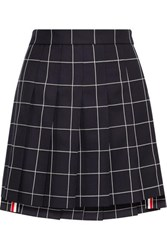 Thom Browne Pleated Checked Wool Twill Mini Skirt Navy