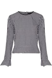 W118 By Walter Baker Jeanette Gingham Cotton Top Black