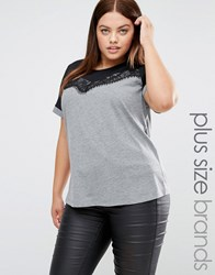 Junarose Short Sleeve Colour Block Jersey Top With Lace Overlay Grey