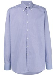 Xacus Pinstripe Button Down Shirt Blue