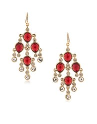 Carolee The Big Apple 12K Goldplated Kite Chandelier Earrings Red