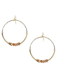 Chan Luu Beaded Hoop Earrings 2In Brown