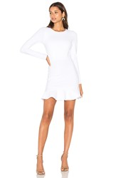 Donna Mizani Long Sleeve Ruffle Dress White