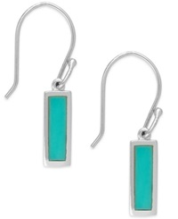 Macy's Manufactured Turquoise Rectangle Drop Earrings In Sterling Silver 2 Ct. T.W.