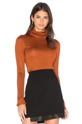 Alice Olivia Billi Slim Turtleneck Sweater In Copper Burnt Orange