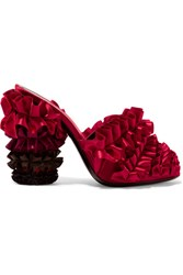 Marco De Vincenzo Velvet Trimmed Ruffled Degrade Satin Mules Red