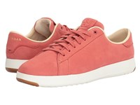 Cole Haan Grandpro Tennis New Mineral Red Nubuck Pink Blue Madras Lining Women's Lace Up Casual Shoes