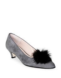 Patricia Green Cara Faux Fur Suede Pumps Charcoal Grey
