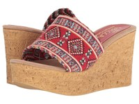 Sbicca Salice Red Multi Wedge Shoes
