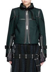Sacai Leather Trim Belted Wool Melton Jacket Green
