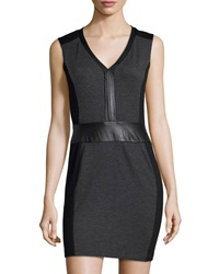 La Pina Ursula Colorblock Leather Trim Tank Dress Black Charcoal