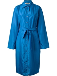 Jean Louis Scherrer Vintage Long Belted Raincoat Blue