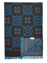 Mr. Start Wool And Silk Scarf In Tile Print Light Blue