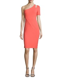 Halston Heritage One Sleeve Cutout Sheath Dress Tangelo