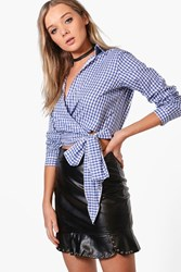 Boohoo Blue Gingham Wrap Front Blouse Blue