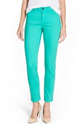 Petite Women's Nydj 'Clarissa' Colored Stretch Ankle Skinny Jeans Jade Mint