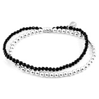 Anchor And Crew Black Spinel Harmony Silver Stone Bracelet Black Silver