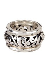 Lois Hill Sterling Silver Hammered And Open Scroll Stack Ring Set Size 7 Metallic