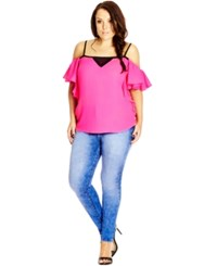 City Chic Plus Size Short Sleeve Off Shoulder Blouse