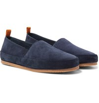 Mulo Shearling Lined Suede Slippers Storm Blue