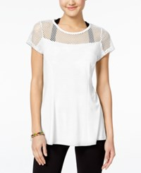 Jessica Simpson The Warm Up Juniors' Mesh T Shirt Only At Macy's Glowing White