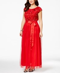 Patra Plus Size Cap Sleeve Beaded Gown
