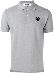 Comme Des Garcons Play Heart Patch Polo Shirt Grey