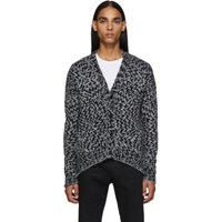 Saint Laurent Grey And Black Jacquard Comic Cardigan