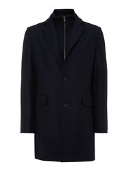 Corsivo Scala Twill Coat With Funnel Zip Through Detail Navy